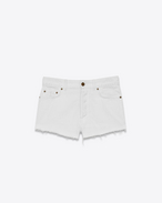 SAINT LAURENT Kurze Hosen D Original Boyfriend-Shorts aus weißem Denim in dirty Optik f