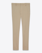 SAINT LAURENT Slim fit D Pantaloni Chino Classic Vintage Beige in gabardine di cotone stretch f