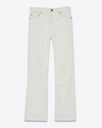 SAINT LAURENT Denim Trousers D Original Cropped Flared Jeans in White Stone Washed Denim f