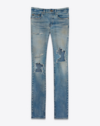 SAINT LAURENT Skinny fit U Original Low Waisted Repaired Skinny Jean in Vintage Dirty Blue 50's Denim f