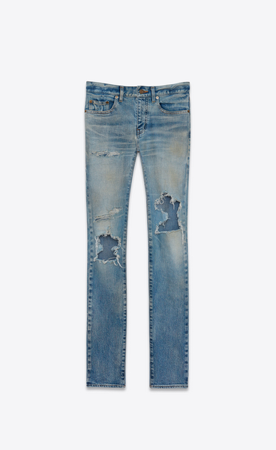 SAINT LAURENT Skinny fit U Original Low Waisted Repaired Skinny Jean in Vintage Dirty Blue 50's Denim v4