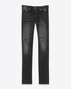 SAINT LAURENT Skinny fit U Original Low Waisted Repaired Skinny Jean in Overdyed Black Stretch Denim f
