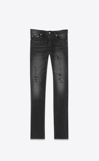 SAINT LAURENT Skinny fit U Original Low Waisted Repaired Skinny Jean in Overdyed Black Stretch Denim a_V4