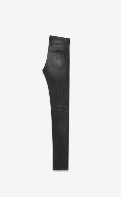 SAINT LAURENT Skinny fit U Original Low Waisted Repaired Skinny Jean in Overdyed Black Stretch Denim b_V4