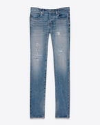 SAINT LAURENT Skinny fit U Original Low Waisted Repaired Skinny Jean in Clear Blue Selvedge Denim f