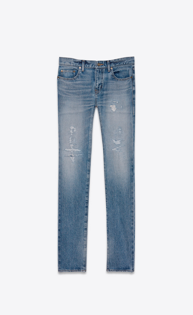 SAINT LAURENT Skinny fit U Original Low Waisted Repaired Skinny Jean in Clear Blue Selvedge Denim v4