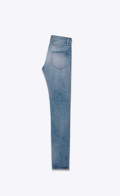 SAINT LAURENT Skinny fit U Original Low Waisted Repaired Skinny Jean in Clear Blue Selvedge Denim b_V4