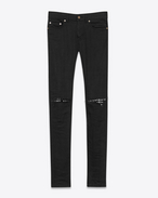 SAINT LAURENT Skinny fit U Original Low Waisted Studded Leather Patch Skinny Jean in Raw Black Stretch Denim f