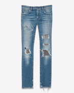 SAINT LAURENT Skinny fit U Original Low Waisted Studded Leather Patch Destroyed Skinny Jean in Medium Vintage Blue 50's Denim f