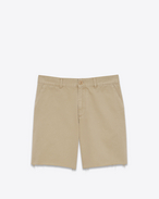SAINT LAURENT Denim Trousers U repaired chino shorts in beige stonewashed cotton gabardine f