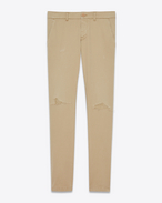 SAINT LAURENT Denim Trousers U Slim Repaired Chino in Beige Stonewashed Cotton Gabardine f