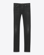 SAINT LAURENT Skinny fit U Jean skinny à taille basse en denim stretch noir légèrement usé f