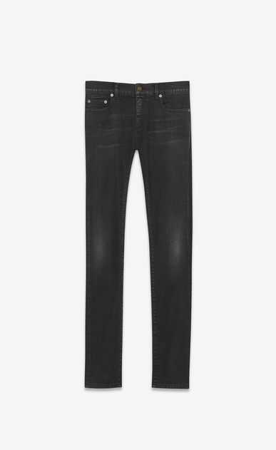 SAINT LAURENT Skinny fit U Jean skinny à taille basse en denim stretch noir légèrement usé a_V4