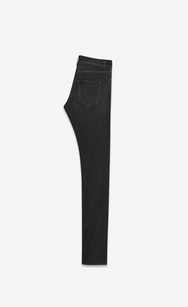 SAINT LAURENT Skinny fit U Jean skinny à taille basse en denim stretch noir légèrement usé b_V4