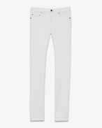 SAINT LAURENT Skinny fit U Original Low Waisted Skinny Jean in White Stonewash Stretch Denim f