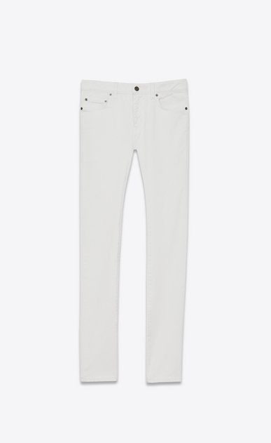 SAINT LAURENT Skinny fit U Jean skinny taille basse en denim stretch délavé blanc a_V4