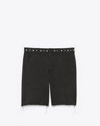 SAINT LAURENT Denim Pants U Studded Chino Shorts in Black Stonewashed Cotton Gabardine f