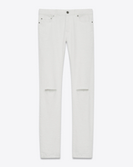 SAINT LAURENT Denim Trousers U ORIGINAL LOW WAISTED RIPPED SKINNY JEAN IN WHITE DENIM f