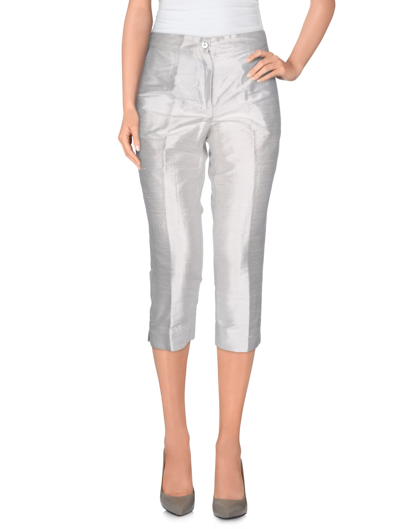 MANILA GRACE Cropped Pants & Culottes in Light Grey