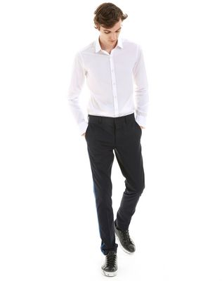 SLIM-FIT CHINO PANTS WITH STITCHED RIBBON