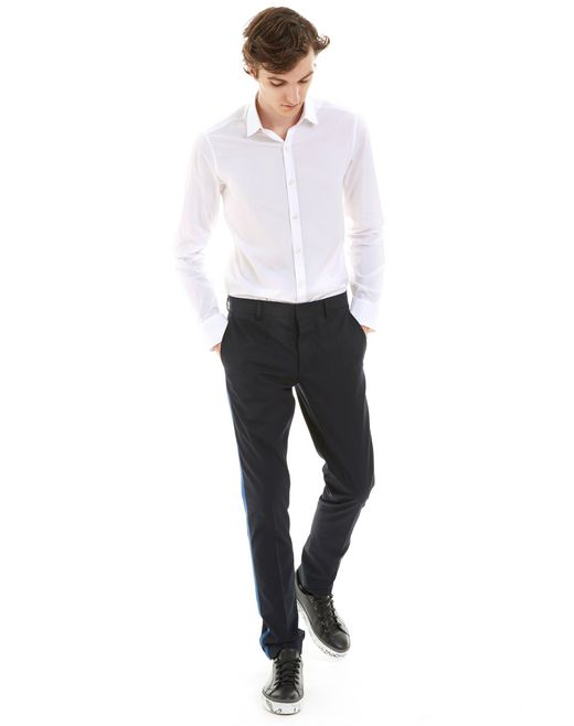 lanvin slim-fit chino trousers with stitched ribbon men