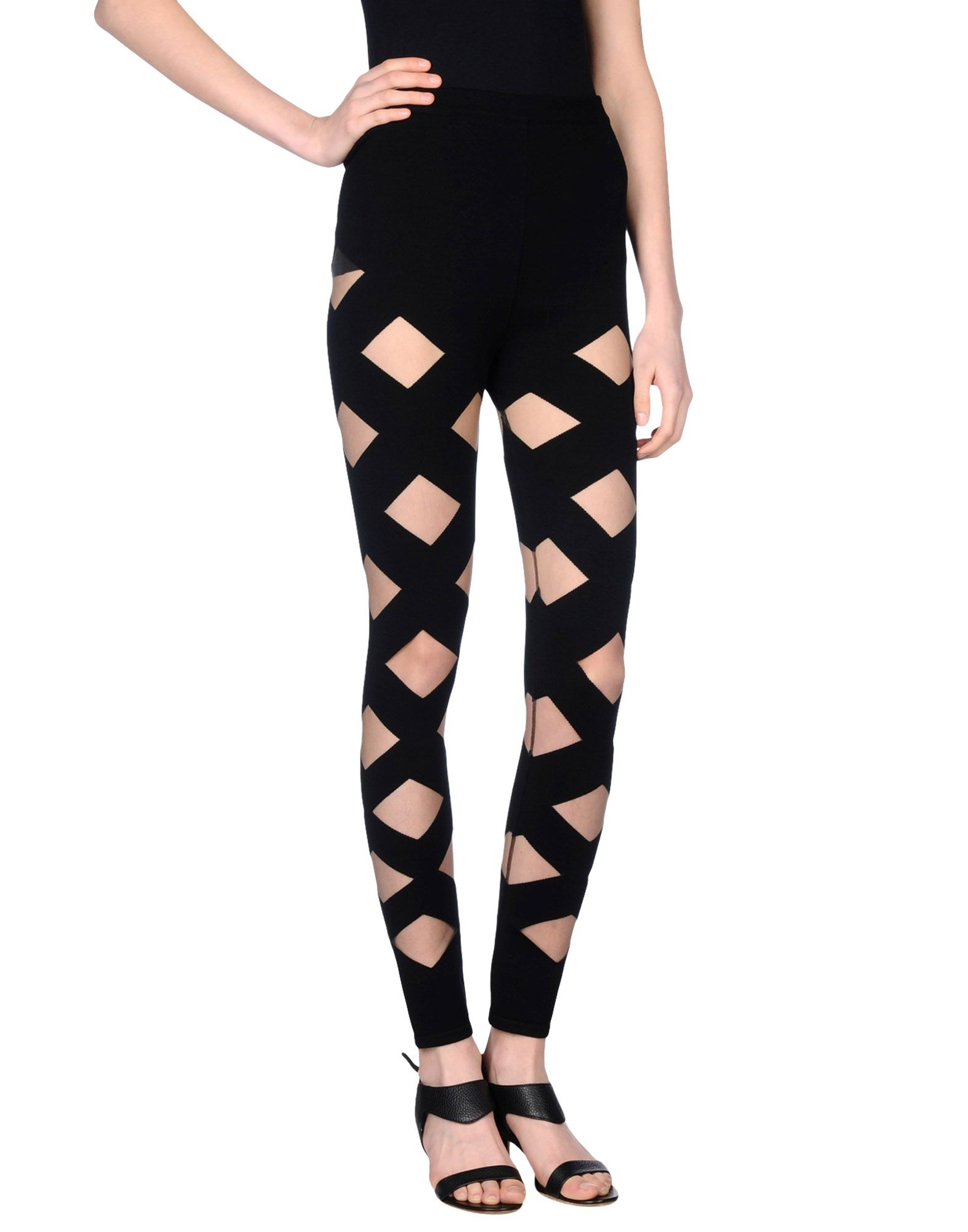 BALMAIN Leggings. tulle, knitted, solid color, high waisted, slim fit, tapered leg, no appliqués, elasticized waist, no pockets, pants. 69% Viscose, 27% Elite, 4% Polyamide