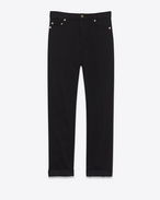 SAINT LAURENT Baggy D Worn Baggy Jean in Black stretch denim f