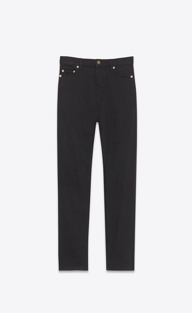 SAINT LAURENT Baggy D Worn Baggy Jean in Black stretch denim a_V4