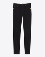 mid waisted skinny jean in worn black stretch denim