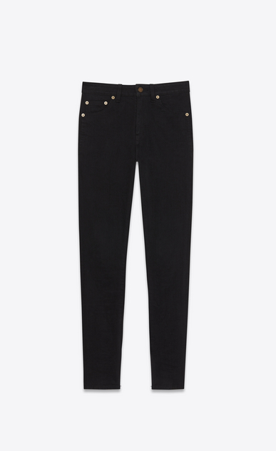 SAINT LAURENT Skinny fit D mid waisted skinny jean in worn black stretch denim a_V4