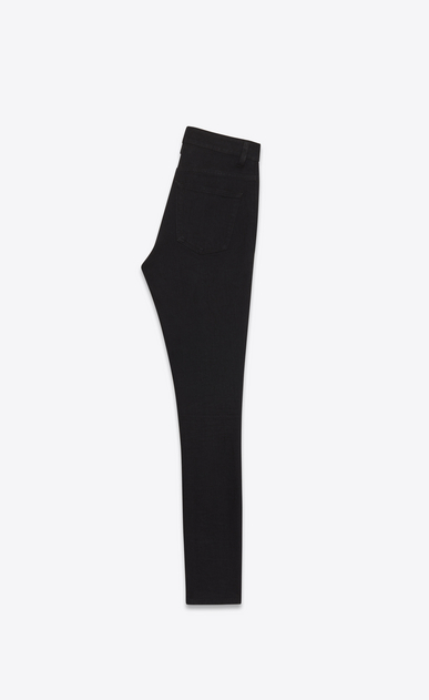 SAINT LAURENT Skinny fit Woman mid waisted skinny jean in worn black stretch denim b_V4