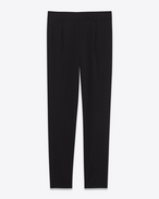 classic low waisted trouser in black virgin wool twill