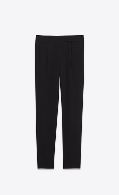 SAINT LAURENT Classic Pant Woman low waisted trouser in black virgin wool twill a_V4