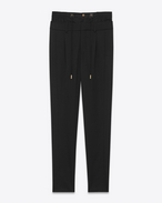 SAINT LAURENT Classic Pant D double waistband trouser in black virgin wool twill f