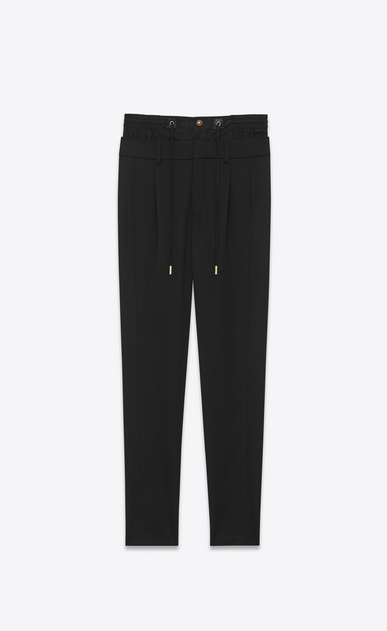 SAINT LAURENT Classic Pant D double waistband trouser in black virgin wool twill a_V4