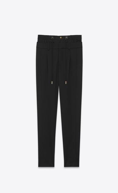 SAINT LAURENT Classic Pant D double waistband trouser in black virgin wool twill v4