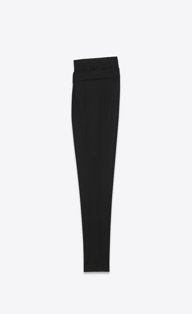 SAINT LAURENT Classic Pant D double waistband trouser in black virgin wool twill b_V4