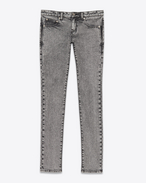 SAINT LAURENT Skinny fit D jeans a vita bassa skinny grigi in denim stretch lavato f