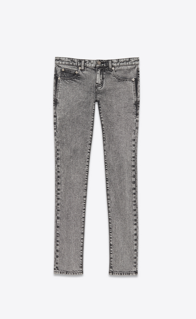 SAINT LAURENT Skinny fit D jeans a vita bassa skinny grigi in denim stretch lavato a_V4