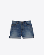 SAINT LAURENT Pantalons courts D Short baggy bleu vintage f