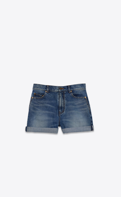 SAINT LAURENT Short Pants D baggy shorts in vintage blue denim v4