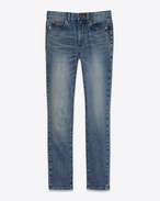 SAINT LAURENT Denim Pants D Vintage Blue Mid Waisted Skinny Cropped Jean f