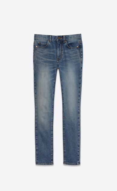 SAINT LAURENT Skinny fit D mid waisted skinny cropped jean in vintage blue denim v4