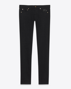 SAINT LAURENT Skinny fit D low waisted skinny jean in raw black denim f