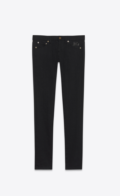 SAINT LAURENT Skinny fit D low waisted skinny jean in raw black denim v4