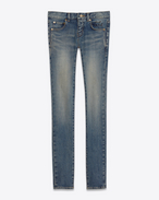 low waisted skinny jean in dirty dark vintage blue stretch demin