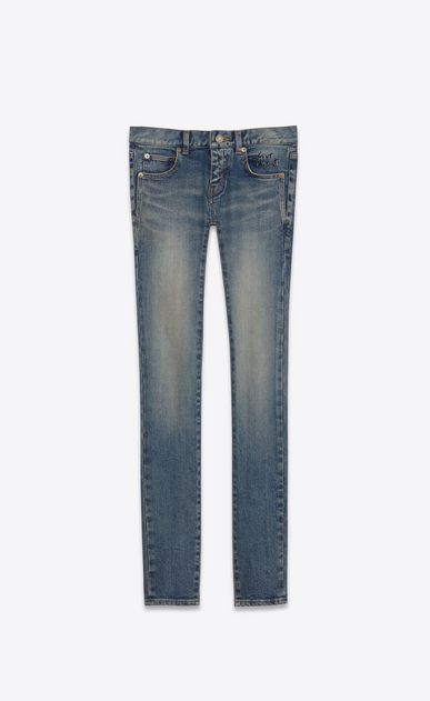 SAINT LAURENT Skinny fit D jeans a vita bassa skinny blu scuro effetto vintage in denim stretch a_V4