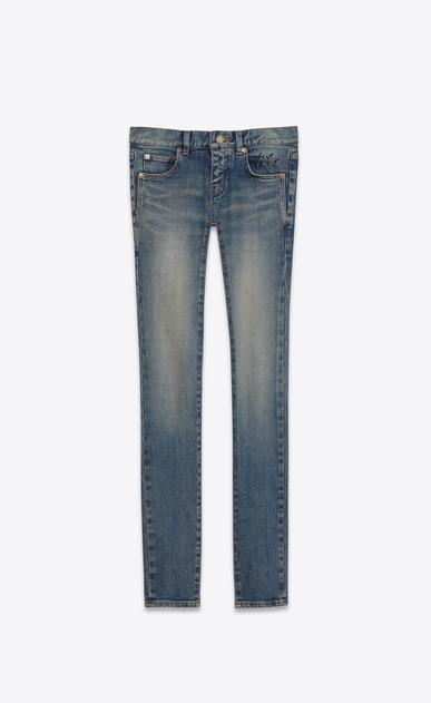 SAINT LAURENT Skinny fit D low waisted skinny jean in dirty dark vintage blue stretch demin v4