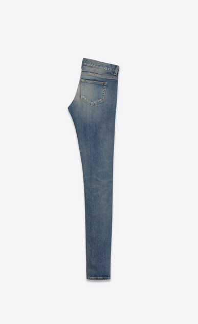 SAINT LAURENT Skinny fit D jeans a vita bassa skinny blu scuro effetto vintage in denim stretch b_V4