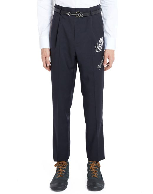 lanvin embroidered straight-leg trousers men
